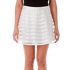 Zibi London - Cream floral stripe organza skirt