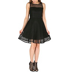 Amaya - Black mesh skater dress
