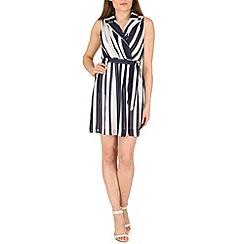 Voulez Vous - Navy d-bar striped collar wrap dress
