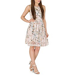 Voulez Vous - White cherry blossom mesh panel dress