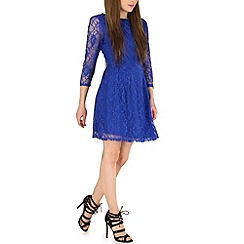 Pussycat London - Blue lace backdetail flare dress