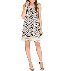 Mela - Brown embellished lace dress