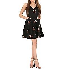 Mela - Black black bird print skater dress