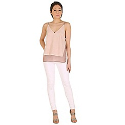 Madam Rage - Pink double layered suede top