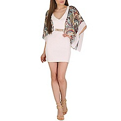 Lili London - Cream alanna kimono cape dress