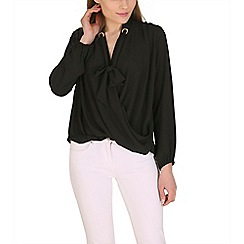 Lili London - Black all day wrap front blouse
