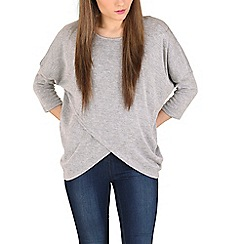 Izabel London - Grey oversized layered hem top
