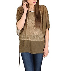 Izabel London - Khaki round neck batwing sleeves top
