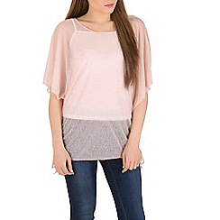 Izabel London - Pink round neck batwing sleeves top
