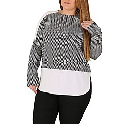 Samya - Grey white contrast long sleeve top
