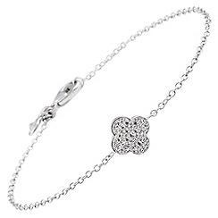 Diamonfire - Silver clover bracelet