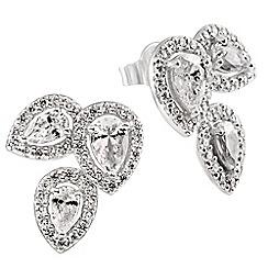 Diamonfire - Silver lotus flower earrings