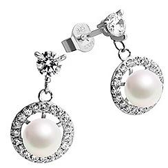 Diamonfire - Silver pearl earrings