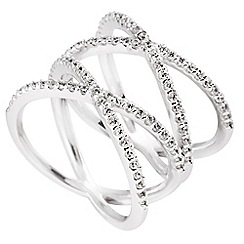 Diamonfire - Silver criss cross ring