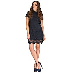 AX Paris - Navy high neck lace dress