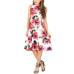 AX Paris - Cream floral midi skater dress