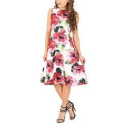 AX Paris - Cream floral midi skater dress