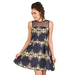 AX Paris - Navy baroque skater dress