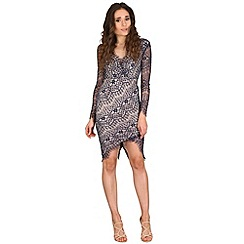AX Paris - Navy lace wrap front dress