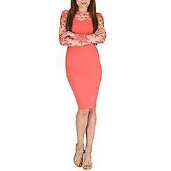Amaya - Peach lace contrast dress
