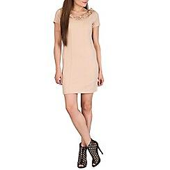 Izabel London - Beige ruffled neckline dress