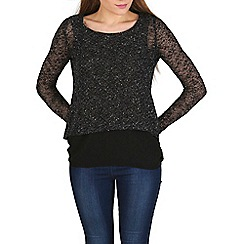 Izabel London - Black knitted sequins top