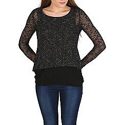 Izabel London - Black knitted sequins top