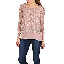 Izabel London - Light pink knitted sequins top