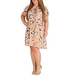 Samya - Light pink plus size cap sleeve floral dress