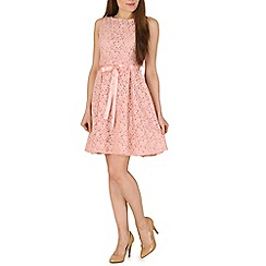 Amaya - Pink lace skater dress with satin belt