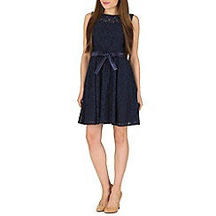 Amaya - Navy lace skater dress with satin belt