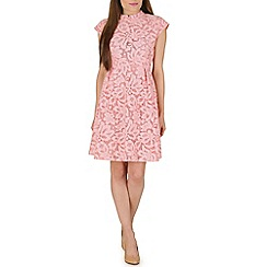 Amaya - Peach lace dress with stand collar