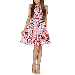 Amaya - Pink floral print skater dress
