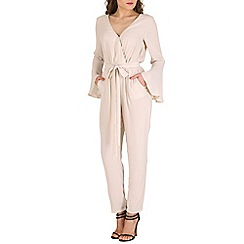 Oeuvre - Beige crossover bell sleeved jumpsuit