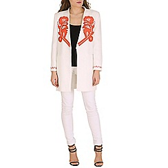 Oeuvre - White & red floral embroidered blazer
