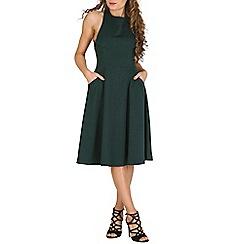Oeuvre - Green black crossover back skater dress.