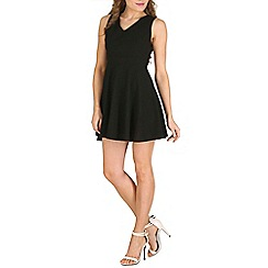 Oeuvre - Black black v-neck mini skater dress with cut out back