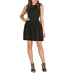 Oeuvre - Black black lace shouldered sleeveless skater dress