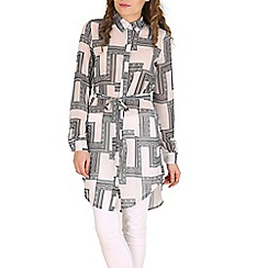 Oeuvre - White black & white unique square printed shirt dress