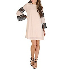 Oeuvre - Beige lace detailed bell sleeved shift dress