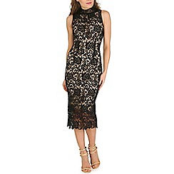Oeuvre - Black high neck crochet lace bodycon midi dress
