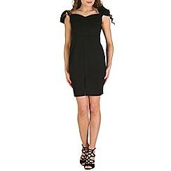 Oeuvre - Black black bow off the shoulder bodycon mini dress