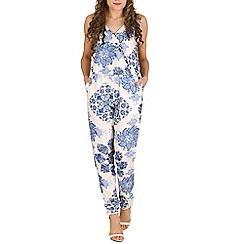 Oeuvre - Blue blue & white china plate printed jumpsuit