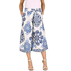 Oeuvre - Blue china plate printed culottes