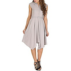 Oeuvre - Grey wide shoulder belted asymetric dress