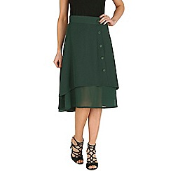 Oeuvre - Green layered front button detailed midi skirt