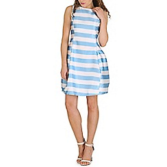 Oeuvre - White stripe luxe bell shaped mini dress