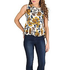 Oeuvre - Yellow floral gathered trim tank top