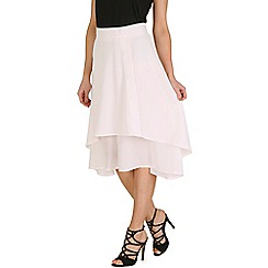 Oeuvre - White layered front button detailed midi skirt