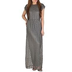 Mela - Silver grecian lace maxi dress
